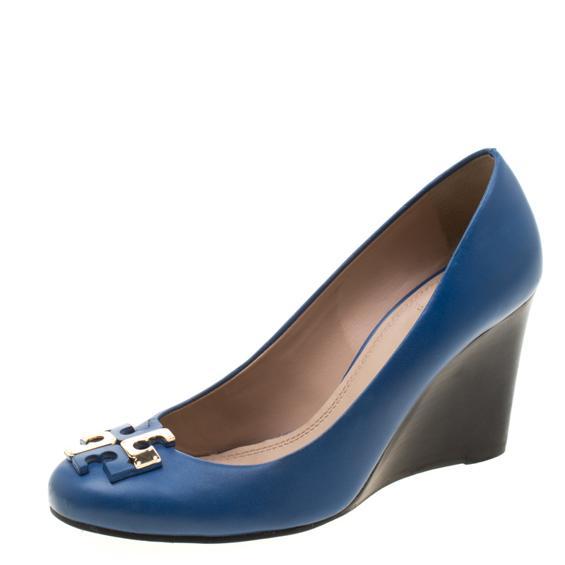 Tory Burch Blue Leather Lowell Wedge