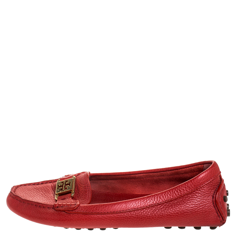 Tory Burch Rouge Kendrick Conduite Mocassins Taille 38