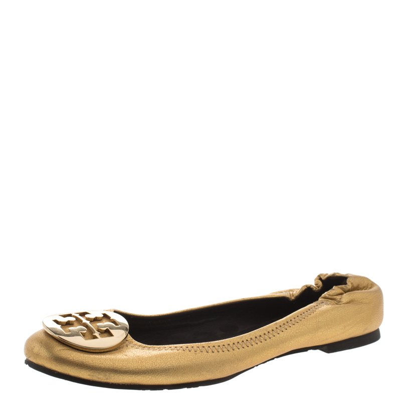 Tory Burch Metallic Gold Leather Minnie Scrunch Ballet Flats Size 37