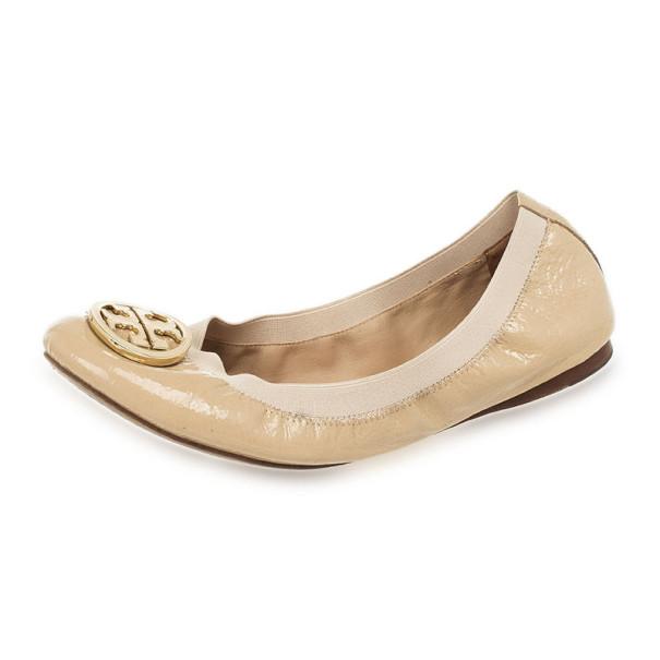 df6c8c5c5afa56 Buy Tory Burch Nude Patent Caroline Ballet Flats Size 41.5 26478 at ...