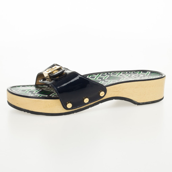 a43cbba27 Buy Tory Burch Blue Patent Leather Dixon Clogs Slides Size 38 26527 at best  price