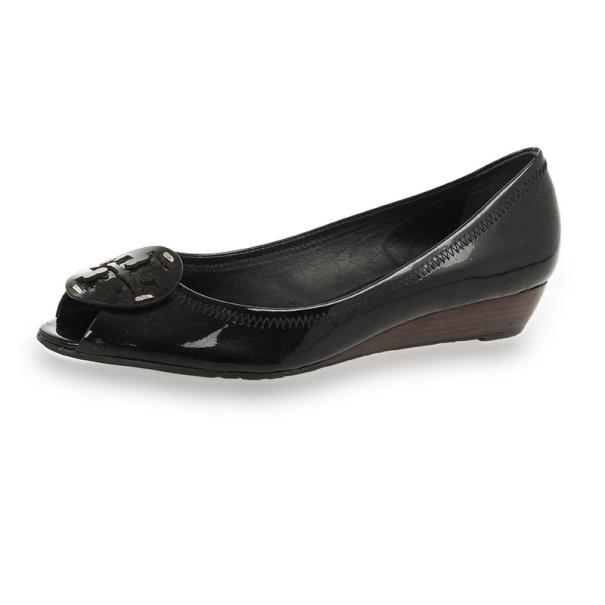 f9601c4ee9c6 ... Tory Burch Black Patent Peep Toe Carol Mini Wedges Size 38Size 38.  nextprev. prevnext