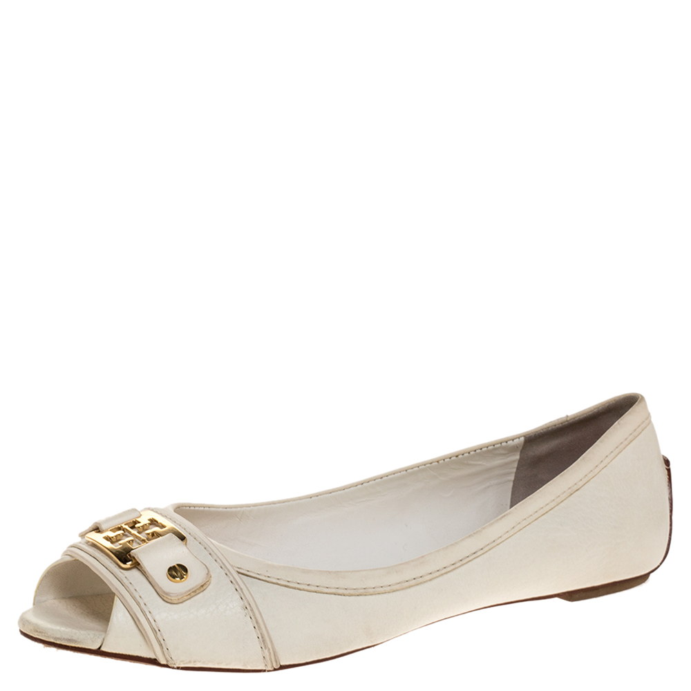 Pre-owned Tory Burch White Leather Cline Peep Toe Ballet Flats Size 37.5