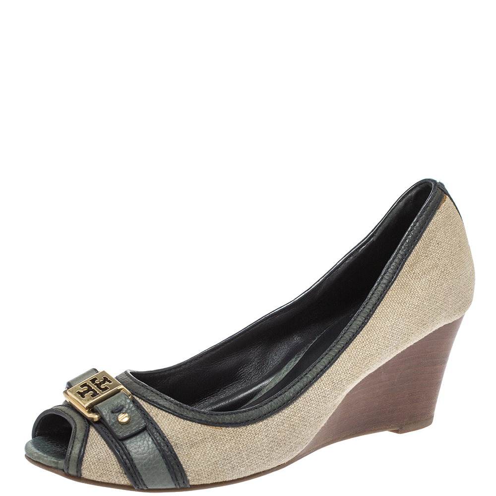 Pre-owned Tory Burch Beige Canvas And Green Leather Trim Wedge Peep Toe Pumps Size 39