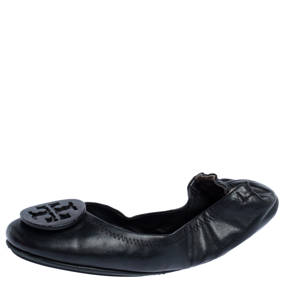 Pre-owned Tory Burch Black Leather Minnie Scrunch Ballet Flats Size 36