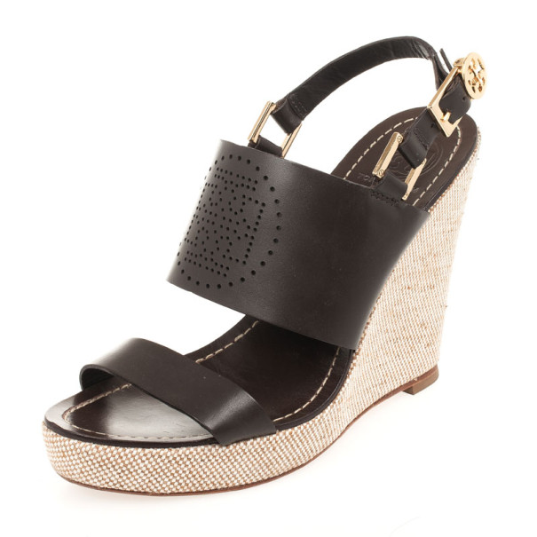 845d7fc2b36868 ... Tory Burch Brown Leather Kimberly Platform Wedges Sandals Size 39.  nextprev. prevnext