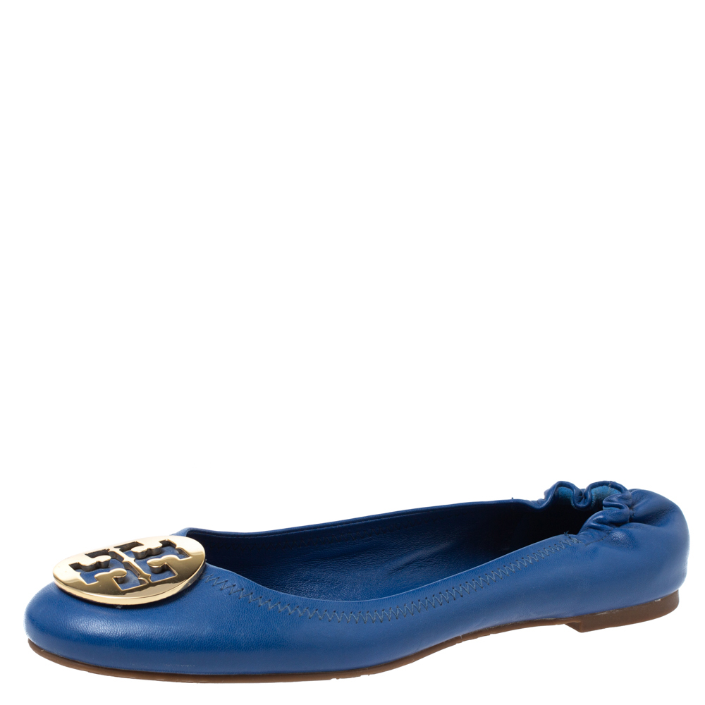 Pre-owned Tory Burch Blue Leather Minnie Scrunch Ballet Flats Size 40