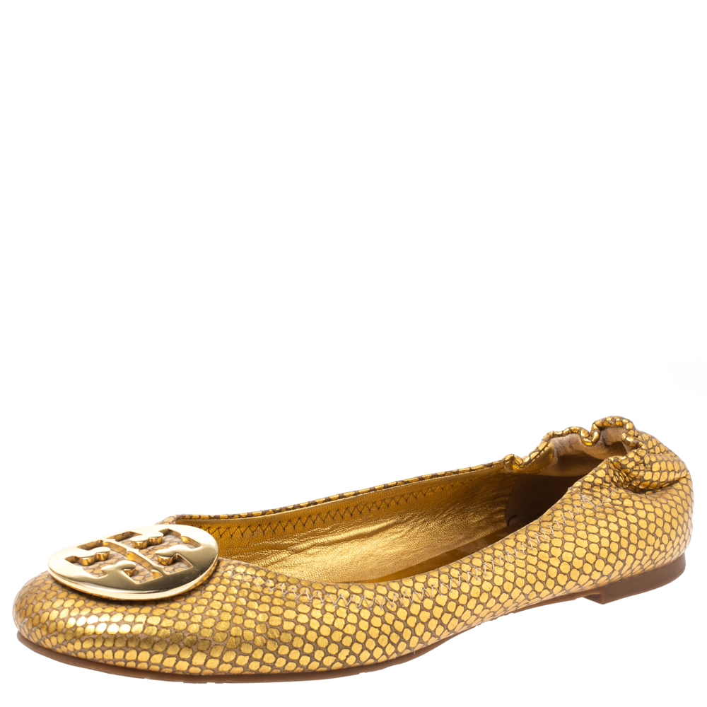 Pre-owned Tory Burch Metallic Gold Snakeskin Effect Leather Minnie Scrunch Ballet Flats Size 40