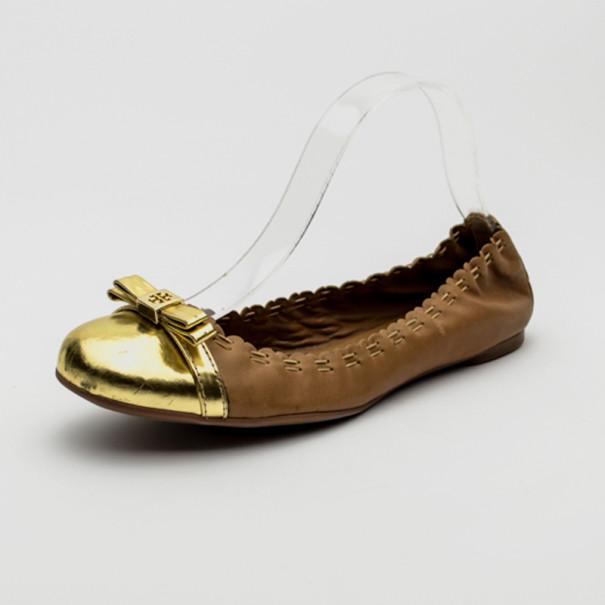 Tory Burch Brown Leather Eddie Logo Bow Metallic Toe Cap Ballerinas Size 40