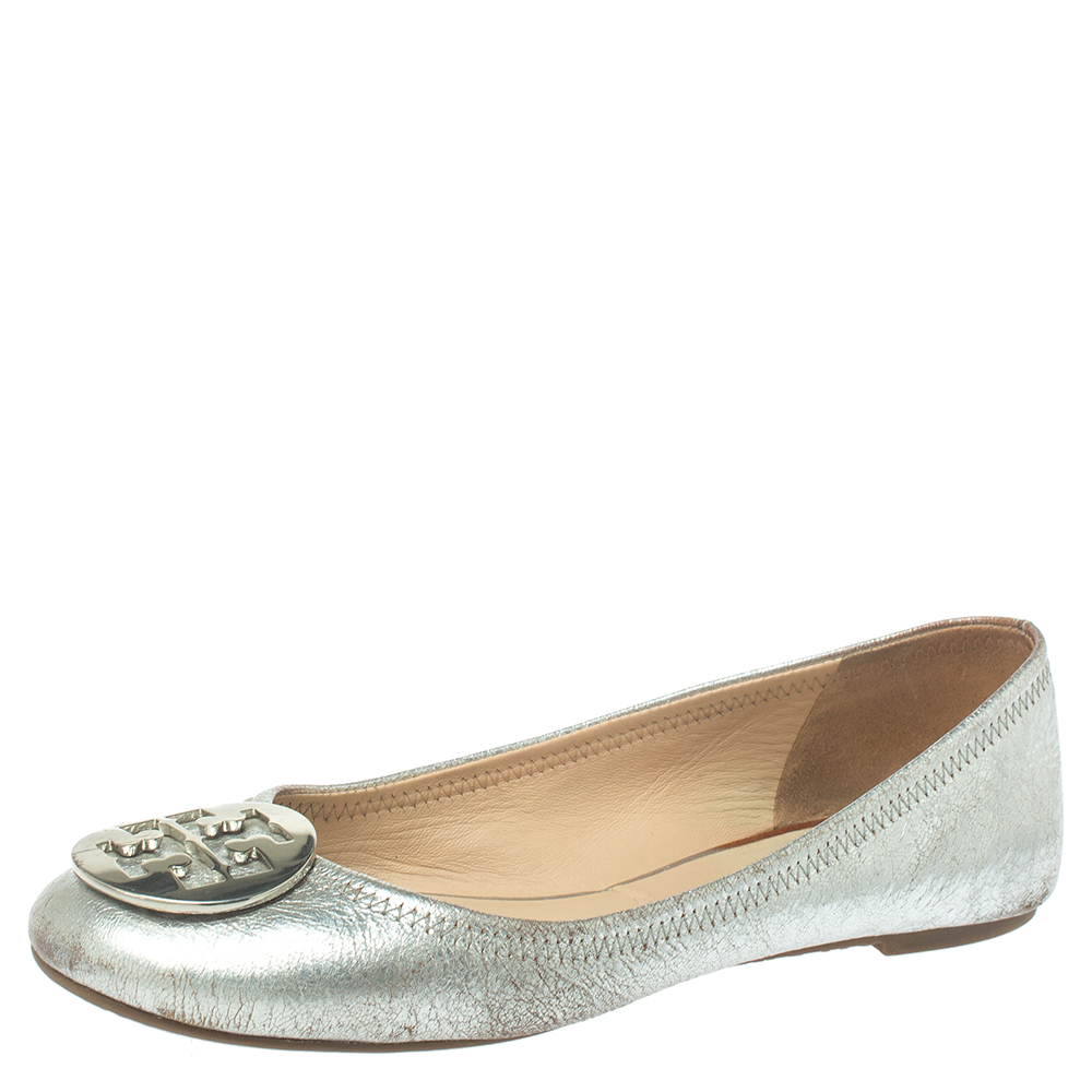 Pre-owned Tory Burch Silver Leather Reva Scrunch Ballet Flats Size 39