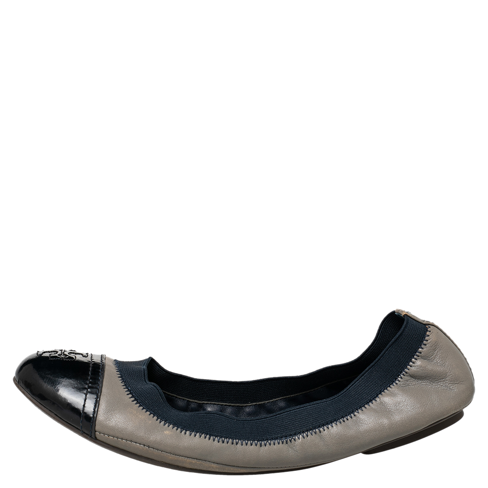 Tory Burch Grey/Blue Leather And Elastic Gabby Scrunch Ballet Flats Size 38.5  - buy with discount