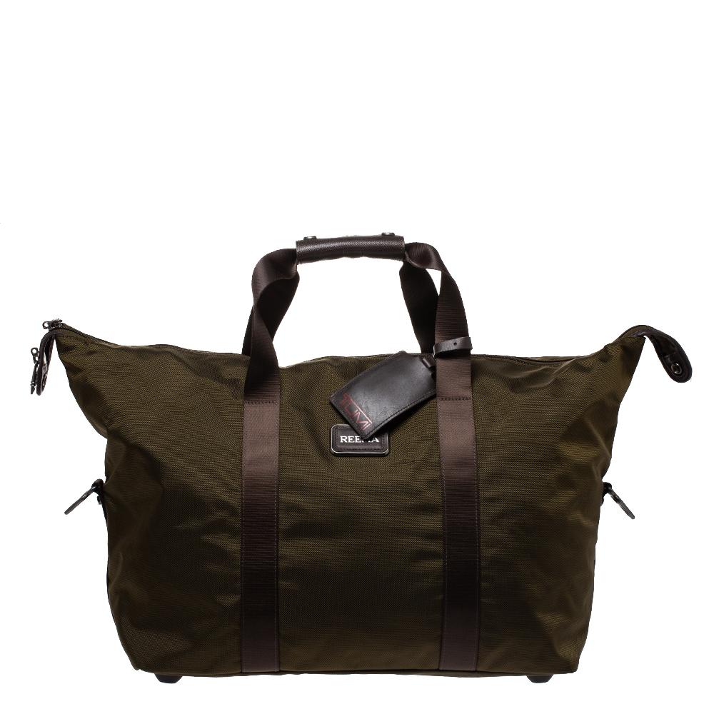 TUMI Khaki Green Nylon Alpha 2 Weekender Duffel Bag