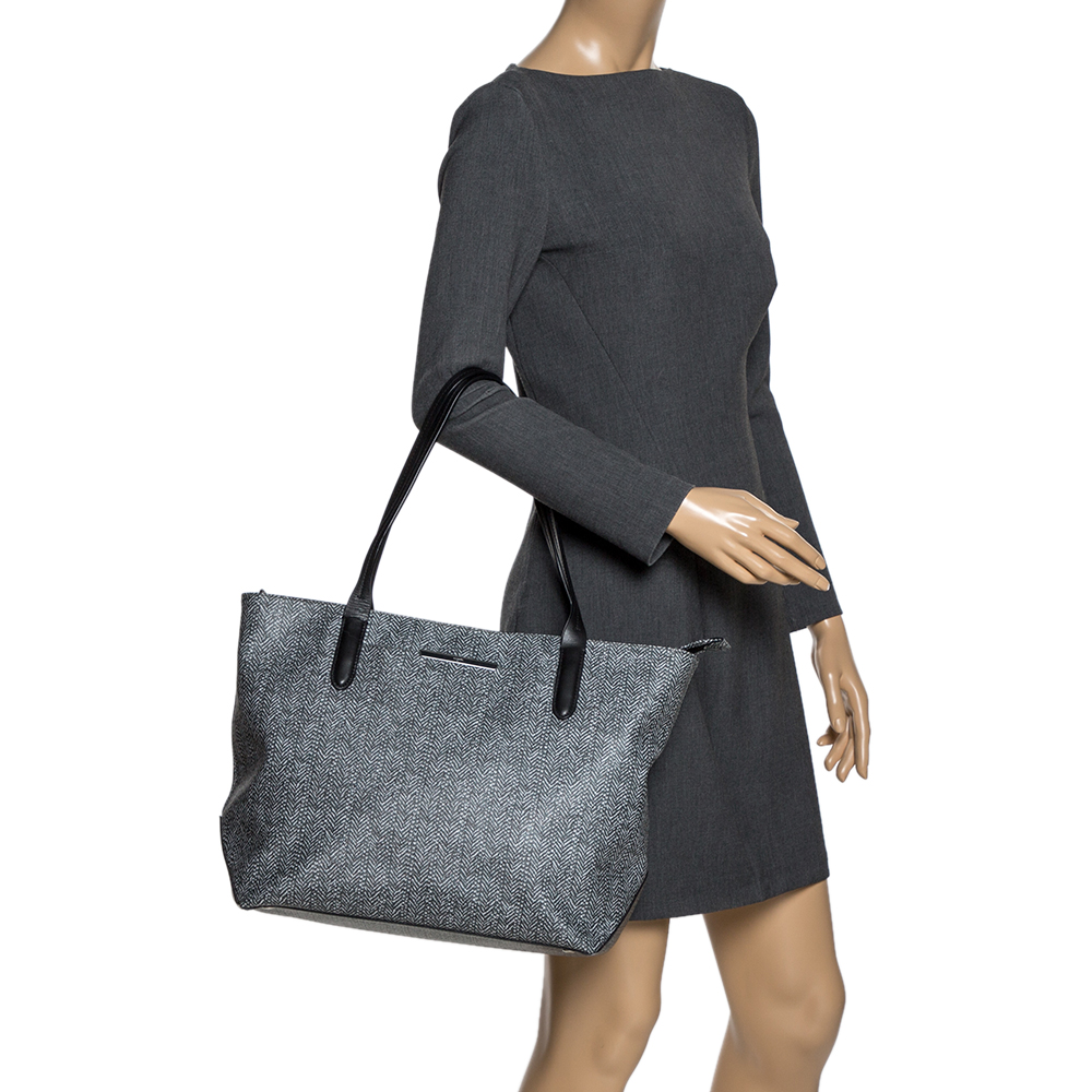 Tumi Grey/Black Coated Canvas and Leather Shopper Tote