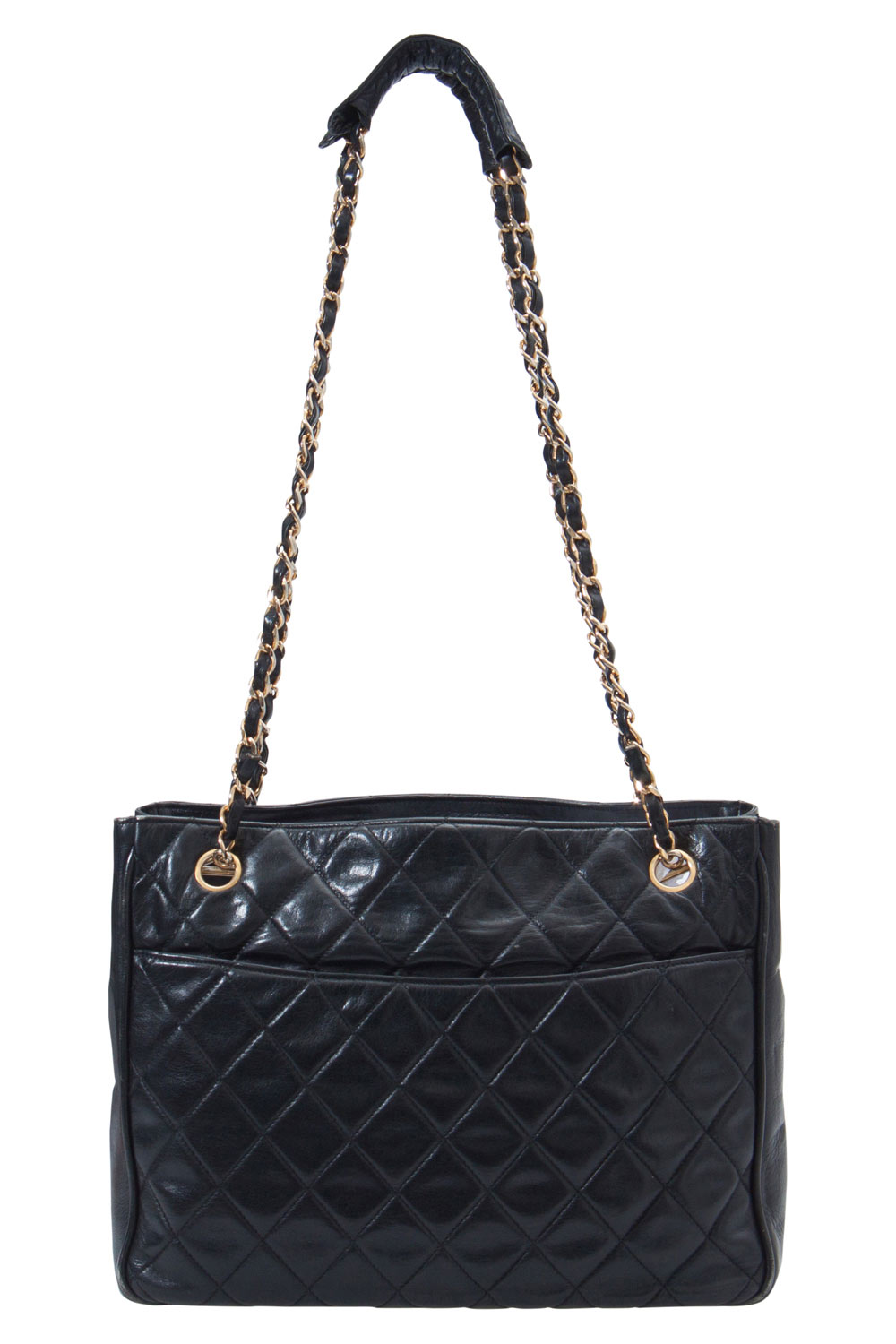 Chanel Black Quilted Leather Vintage Tote