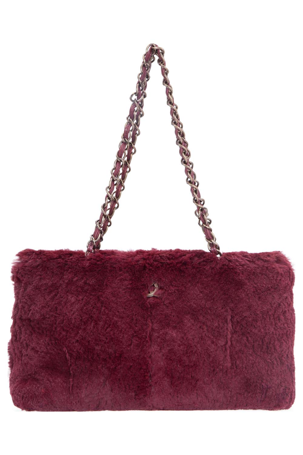 Chanel Maroon Fur Chain Shoulder Bag