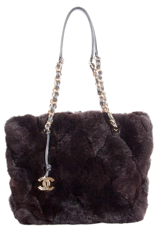 Chanel Dark Brown Fur Chain Shoulder Bag