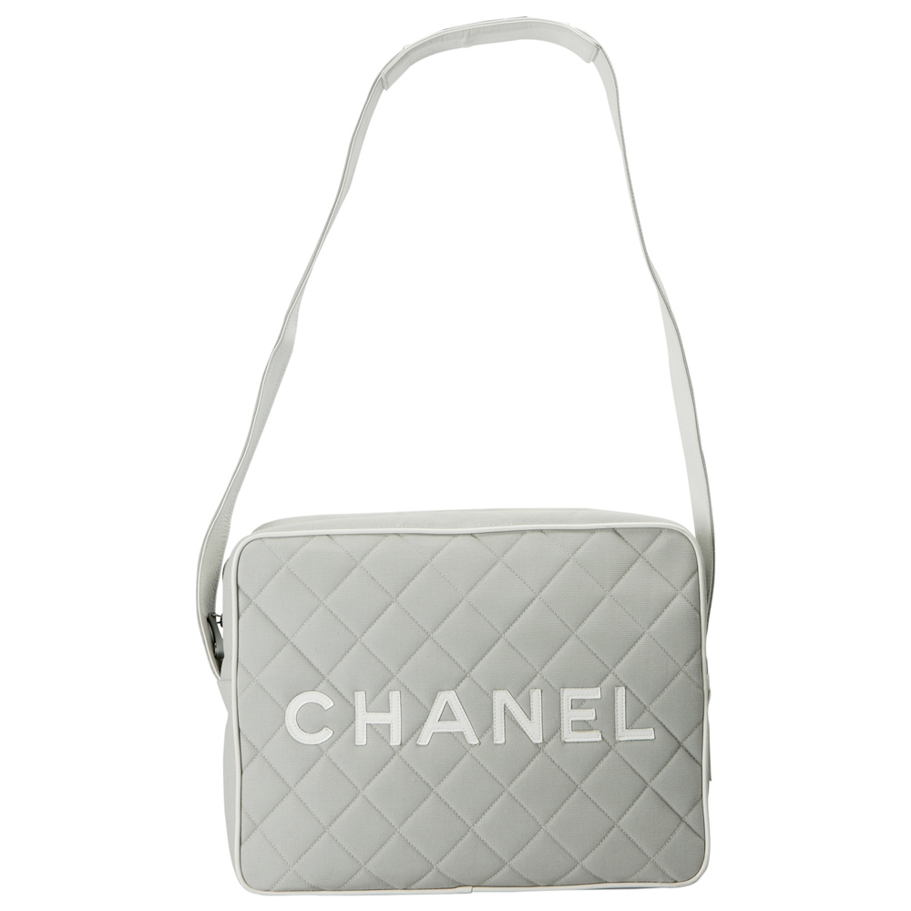 Chanel Light Grey/White Quilted Canvas and Leather Messenger Bag