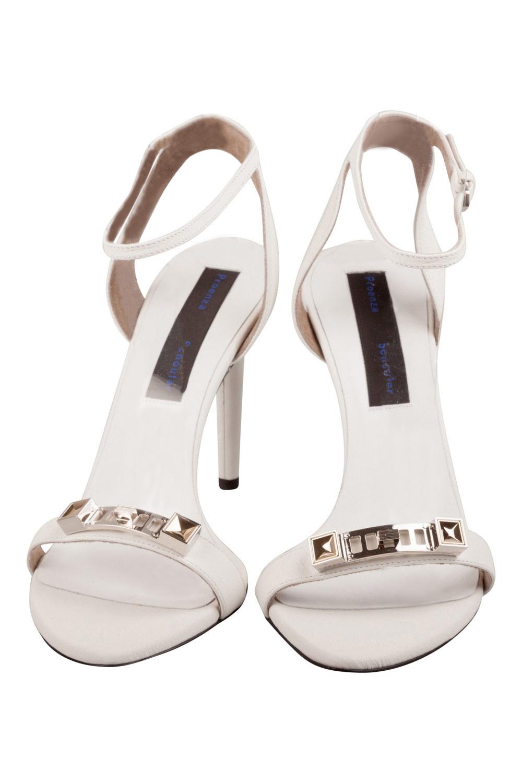 Proenza Schouler En Cuir Blanc Ps11 Matériel De Bracelet De Cheville Sandales Taille 38
