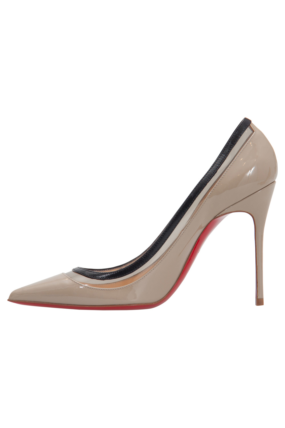 hot sale online 46569 3f8ae Christian Louboutin Beige Patent Leather And PVC Paulina Pointed Toe Pumps  Size 36