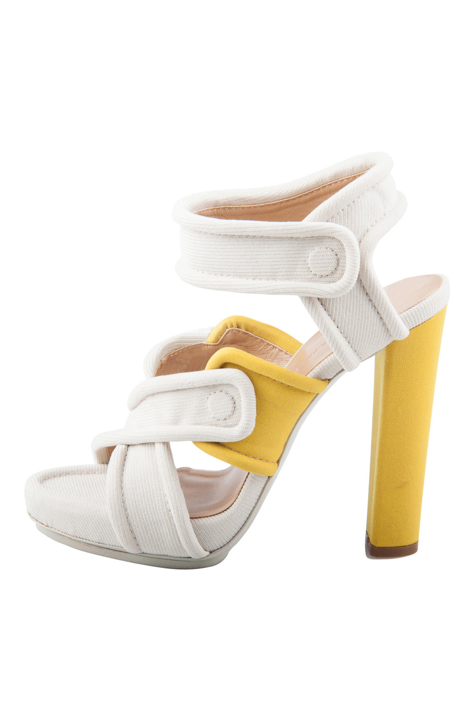 Balenciaga Cream Fabric Criss-Cross Straps Platform Block Heel Sandals 37.5