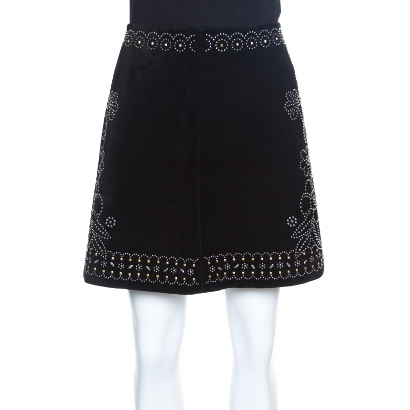 56c8f1b28a Buy Valentino Black Studded Suede Mini Skirt M 152794 at best price ...