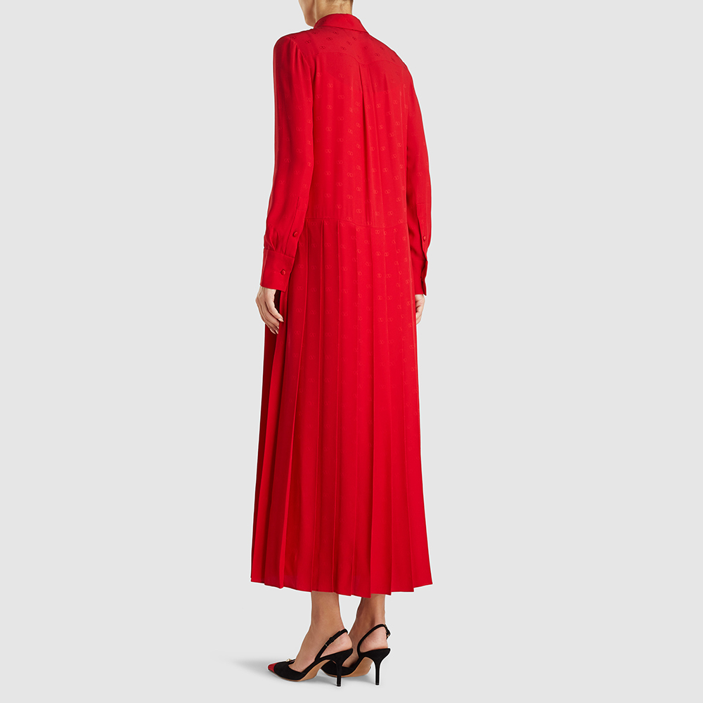Valentino Red Drop Waist Tie-Neck Silk Ankle-Length Dress