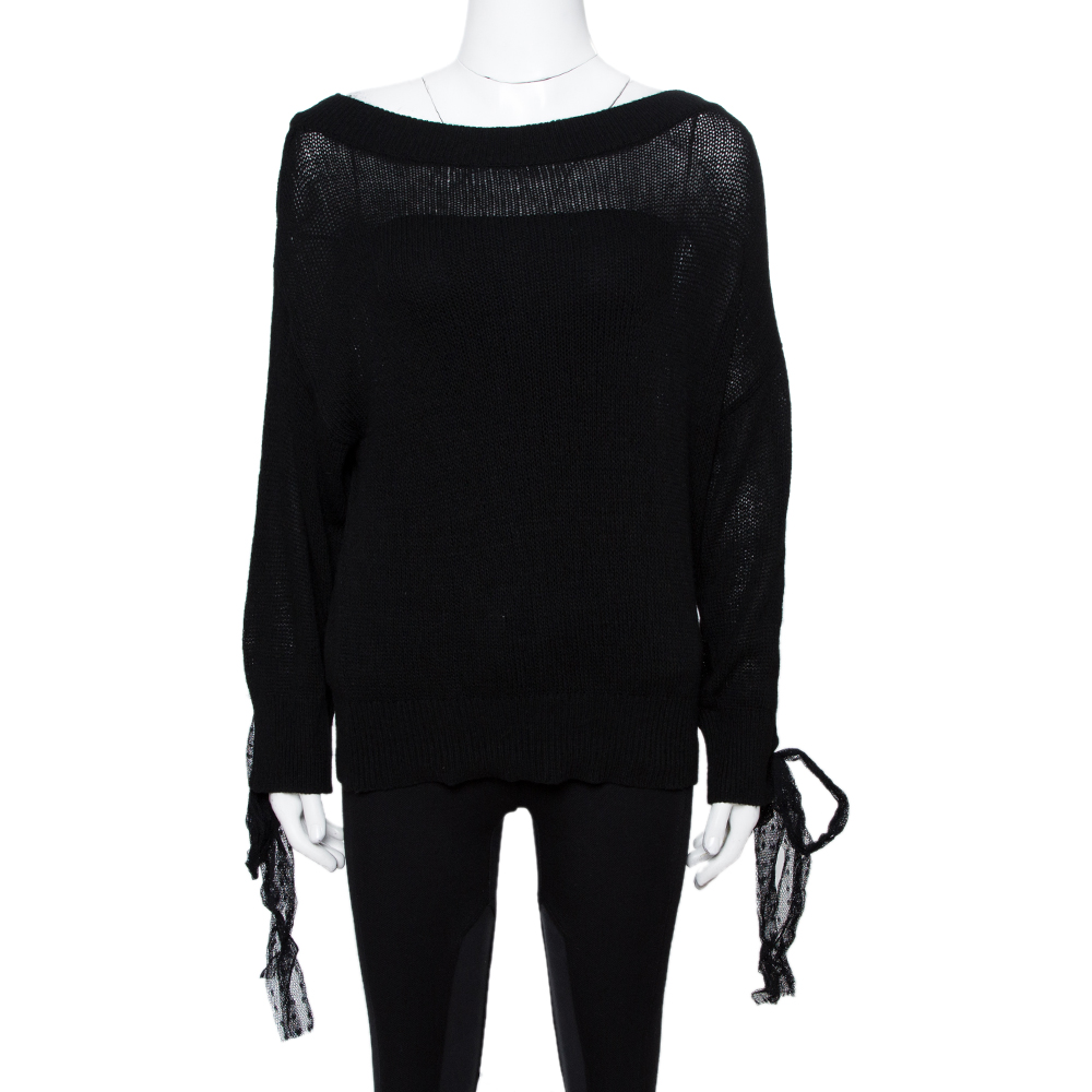 RED Valentino Black Wool Bow Detail Sweater Size S