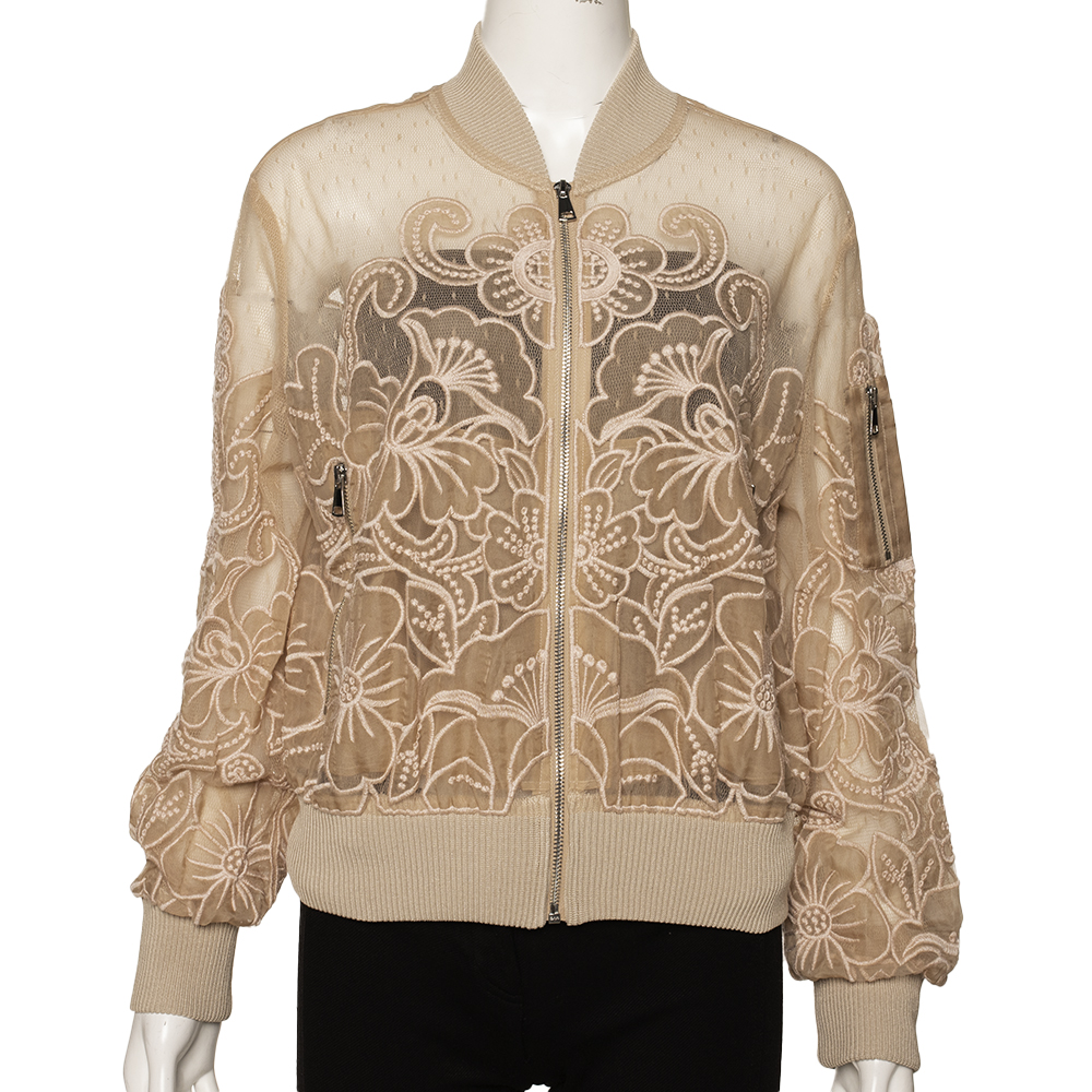 RED Valentino Beige Tulle With Cut-Out Organza Embroidery Bomber Jacket Size L