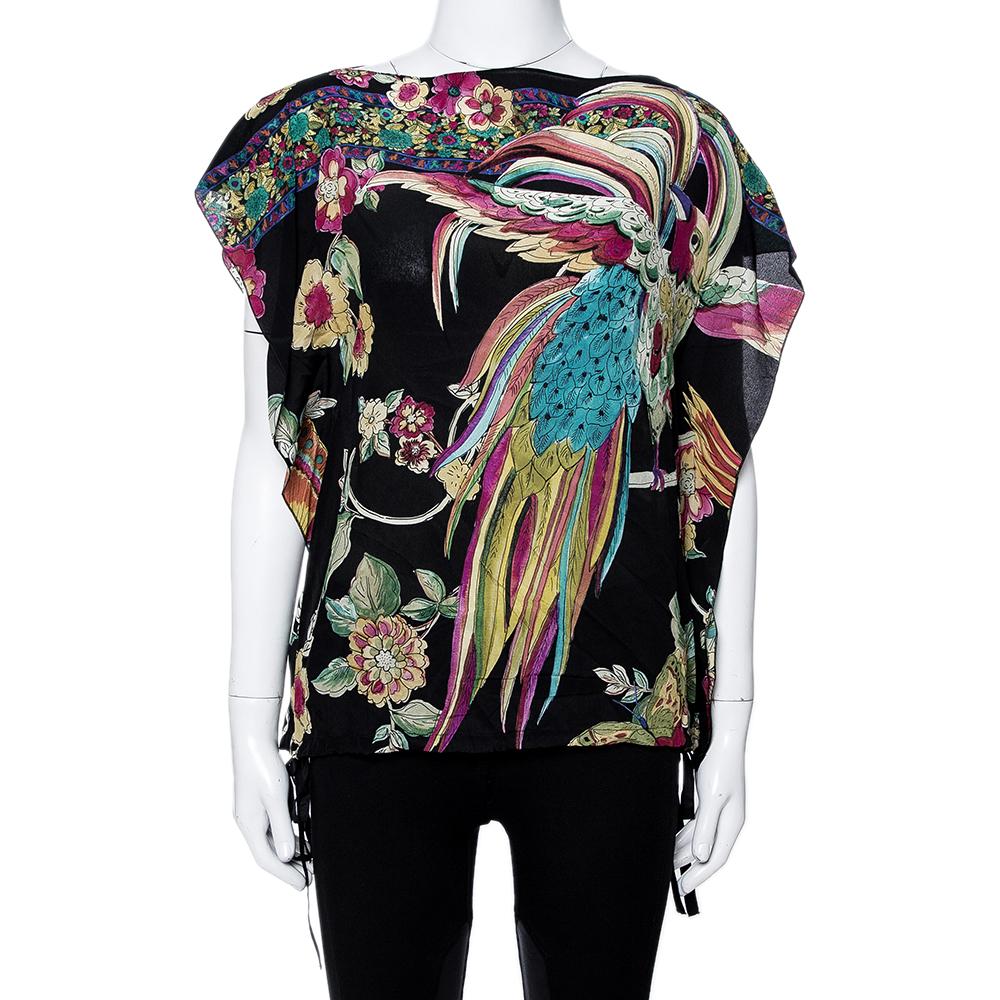 RED Valentino Black Silk Bird Of Paradise Print Blouse Size L