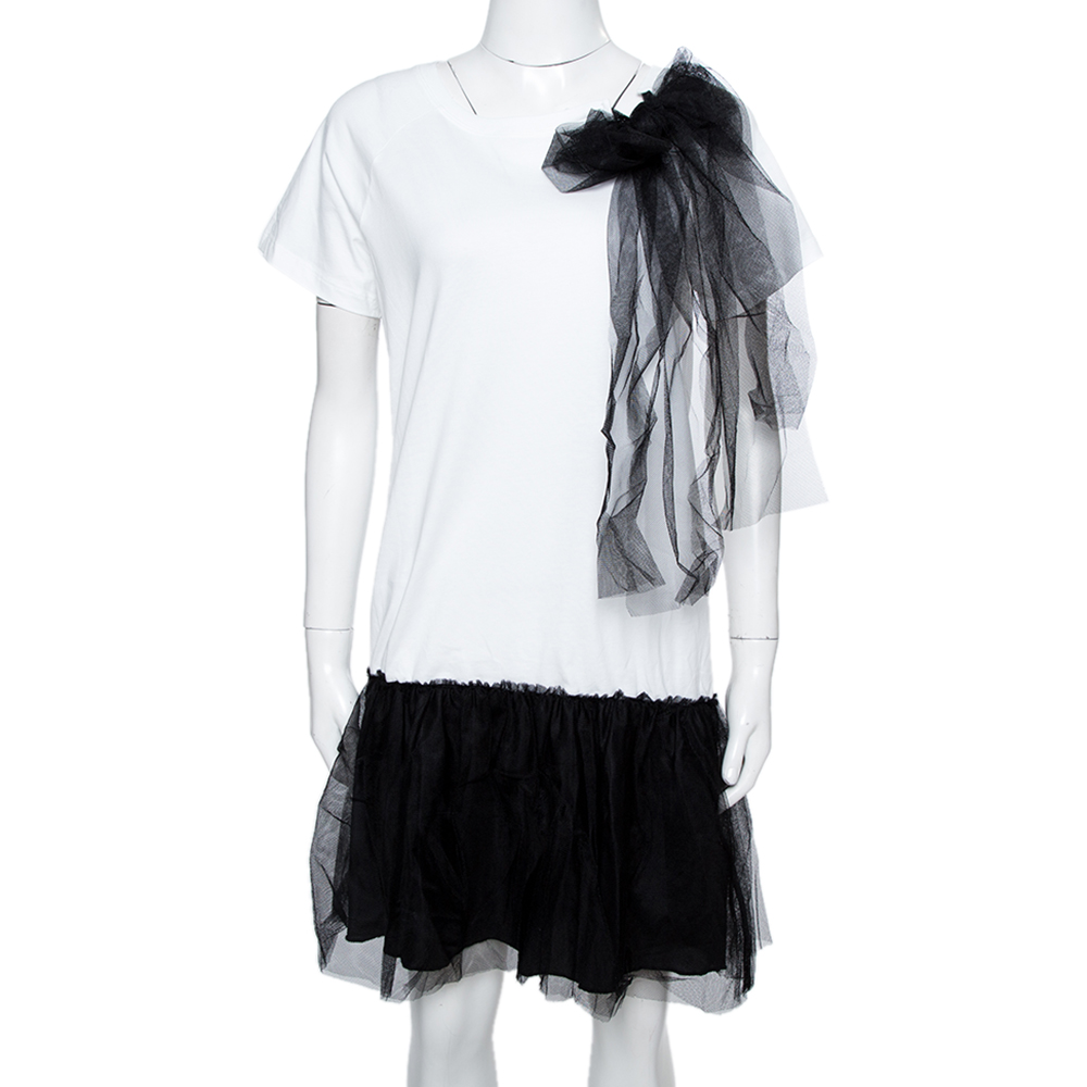 RED Valentino White/Black Cotton Tulle Detailed T-Shirt Dress Size XS
