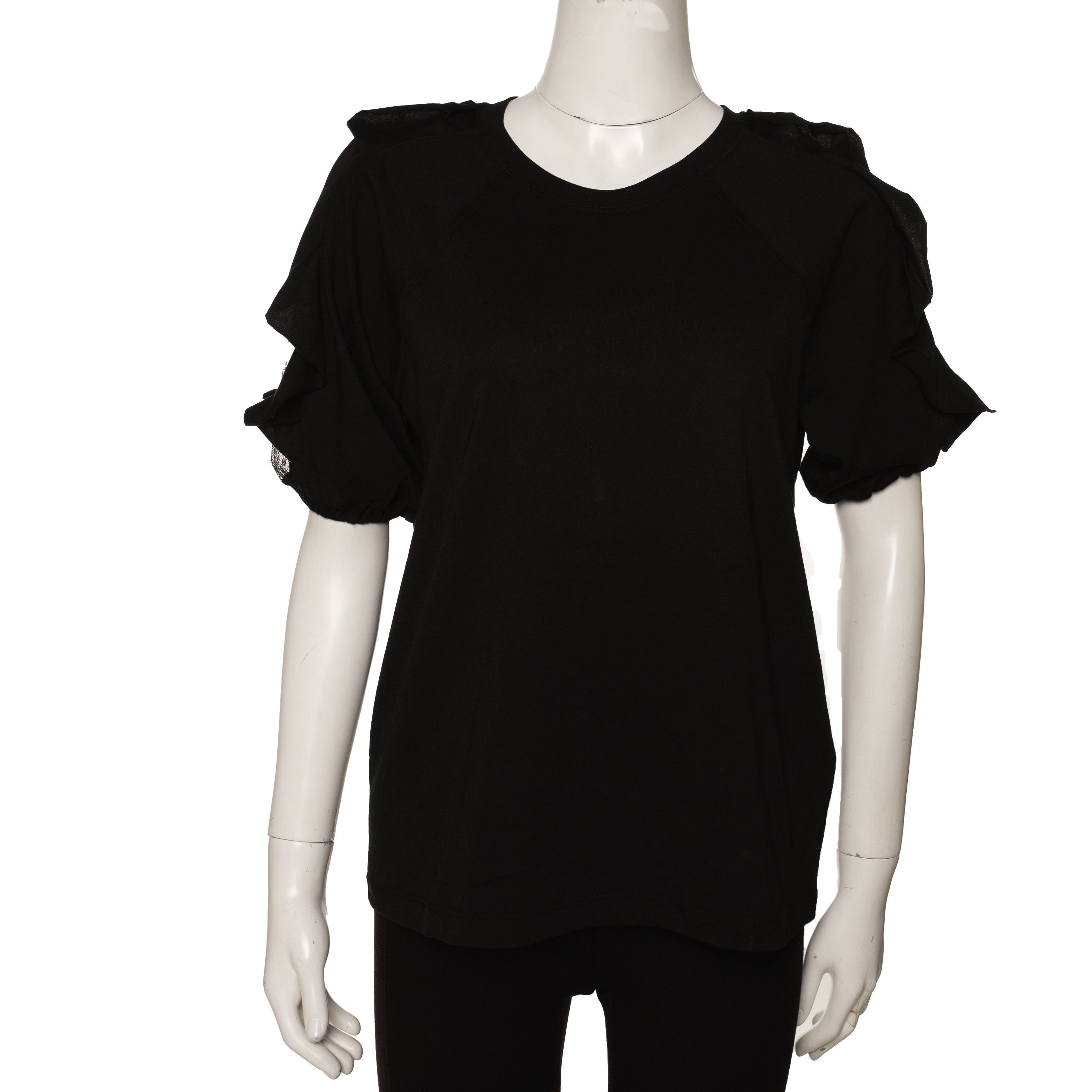 RED Valentino Black Cotton Ruffled Sleeve Tulle Insert T-Shirt Size M