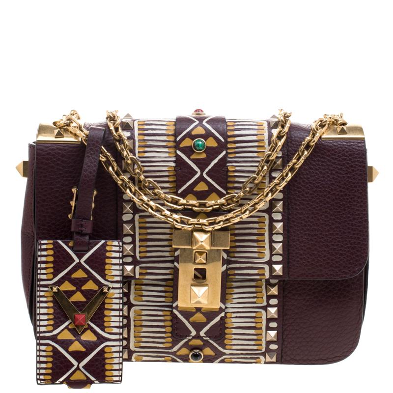 601f2d99218 Buy Valentino Burgundy Leather Painted B-Rockstud Shoulder Bag ...