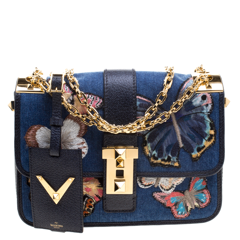 77b52f79871 Buy Valentino Blue Denim Butterfly B-Rockstud Shoulder Bag 114481 at ...