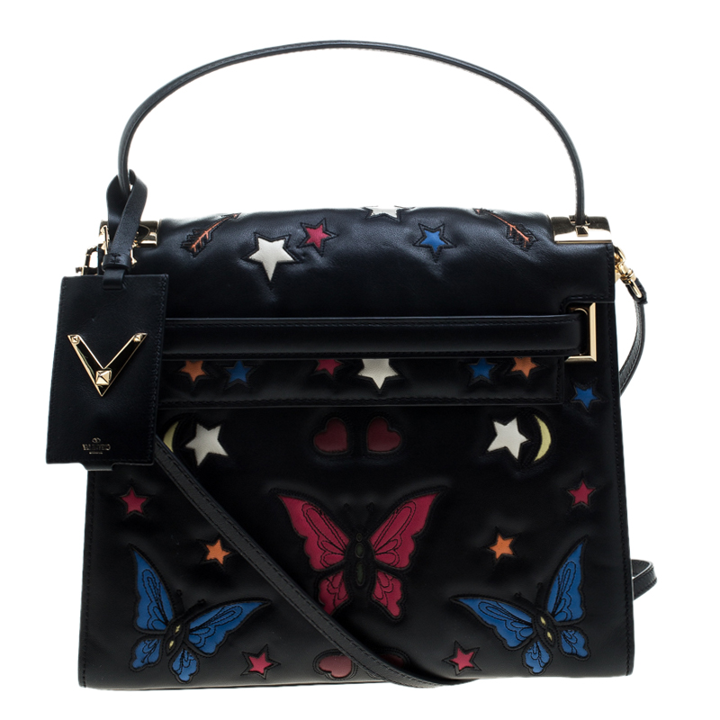 Valentino Black Leather Butterfly My Rockstud Top Handle Bag