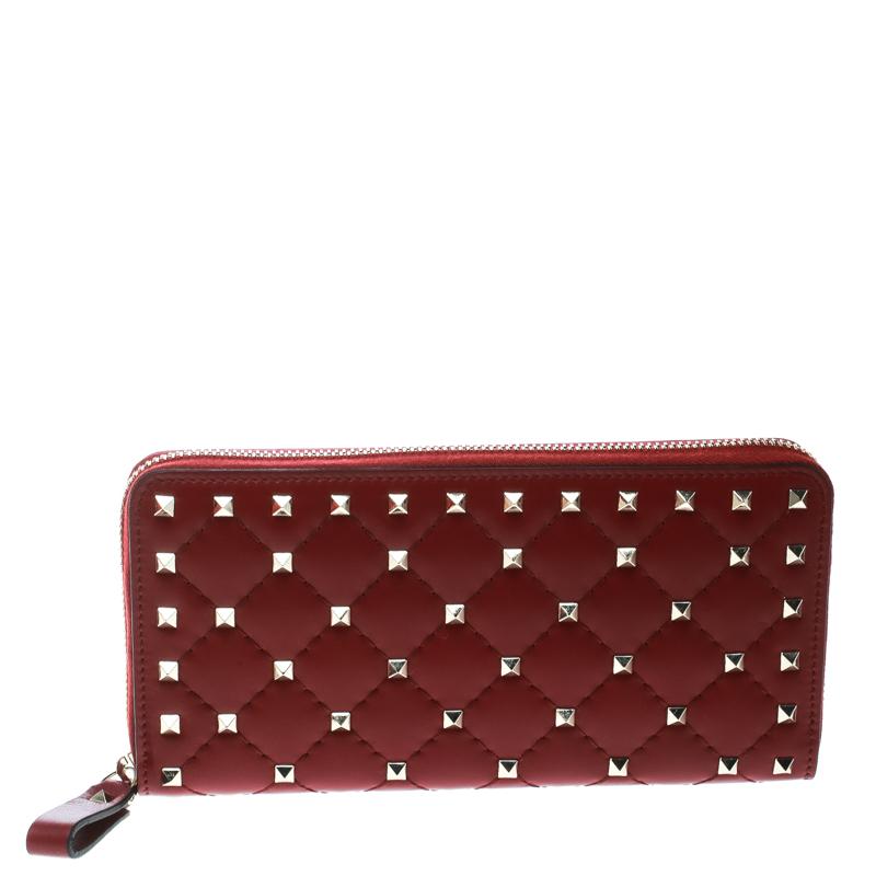 313b7cda2f8 ... Valentino Maroon Leather Rockstud Zip Around Wallet. nextprev. prevnext