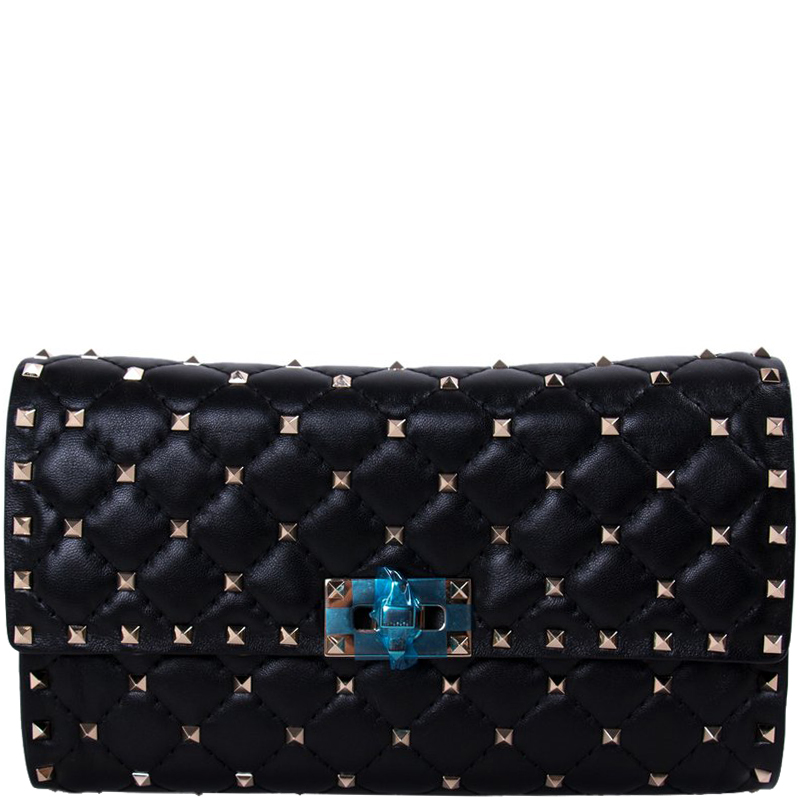 27ea3837192eb Buy Valentino Black Quilted Leather Rockstud Spike Clutch Bag 171087 ...