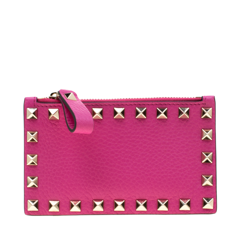 Valentino Pink Orchid Leather Rockstud Zip Wallet