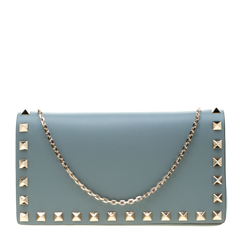 Valentino Nube Leather Rockstud Chain Clutch Bag