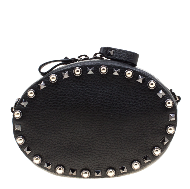 Valentino Black Leather Embroidered Guitar Rockstud Rolling Crossbody Bag