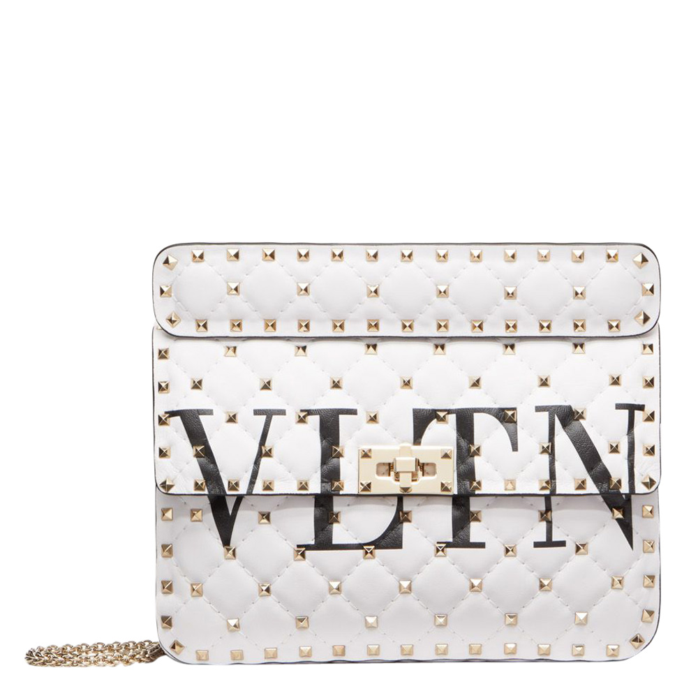 Valentino White Leather VLTN Medium Rockstud Spike.It Chain Shoulder Bag