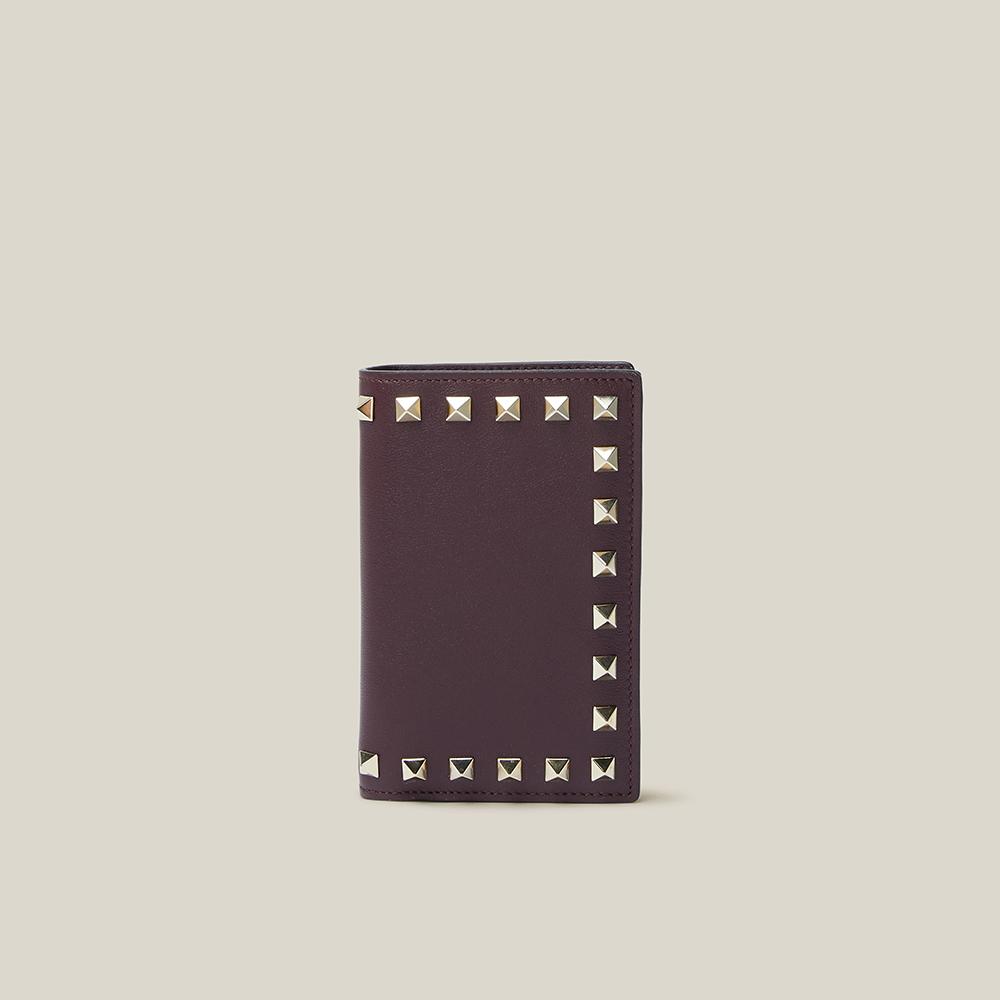Valentino Garavani Burgundy Rockstud Leather Bifold Wallet
