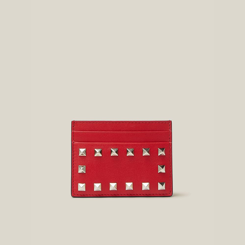 Valentino Garavani Red Rockstud Leather Cardholder