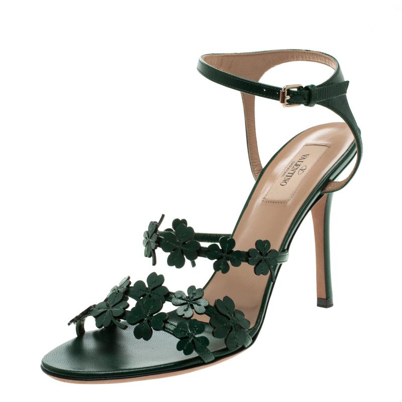 e4f0d767d817 Buy Valentino Green Leather Four Leaf Clover Appliquè Ankle Strap ...