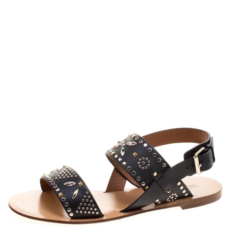 223a258ec Buy Valentino Black Embellished Leather Flat Sandals Size 38 113471 ...