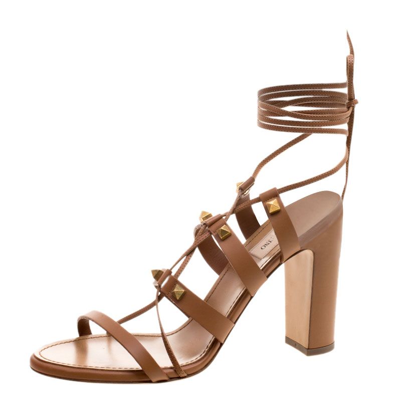c33ad227f145 ... Valentino Brown Leather Rockstud Block Heel Gladiator Lace Up Sandals  Size 40. nextprev. prevnext