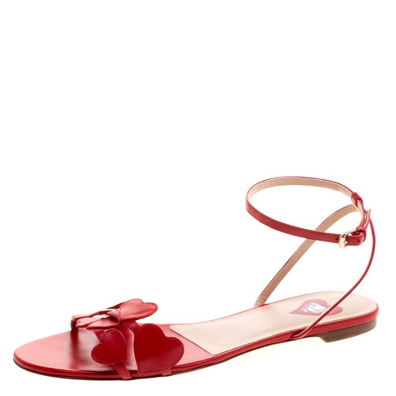 e7b2ff214fc6e4 Buy Valentino Red Leather L Amour Flat Sandals Size 40 116007 at ...