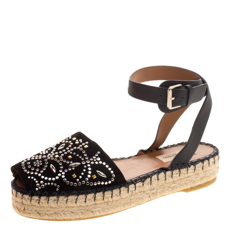 Valentino Black Embellished Suede and Leather Ankle Strap Espadrilles Size 39