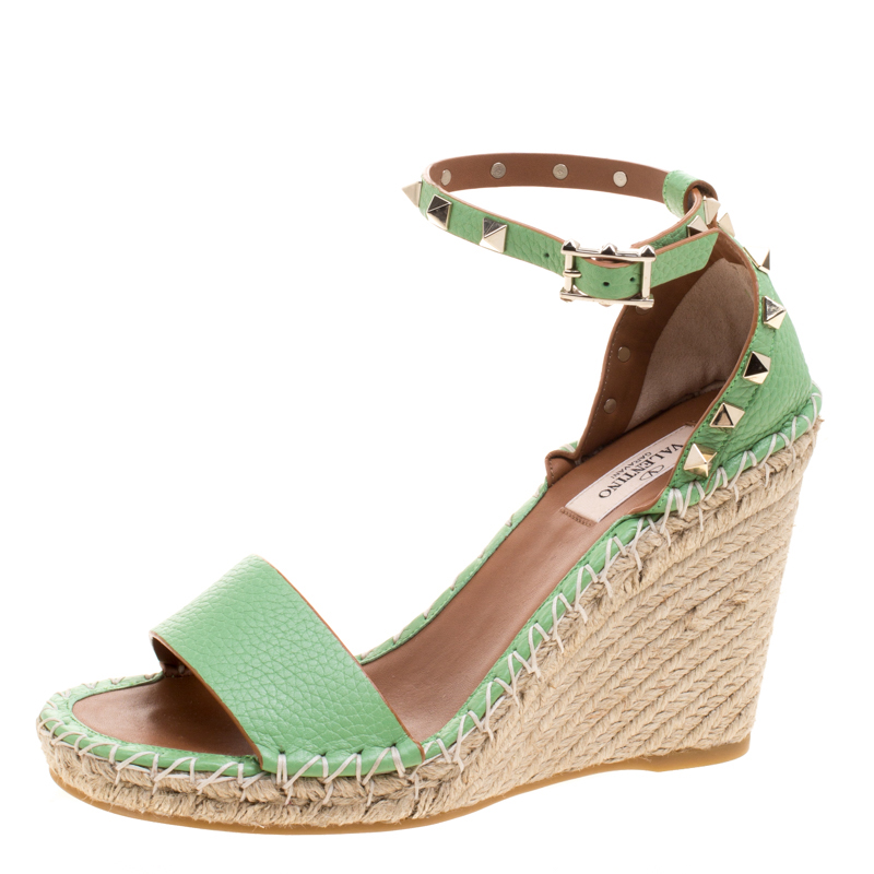 d99f02fb8399 ... Valentino Lime Green Leather Rockstud Espadrille Wedge Sandals Size 37.  nextprev. prevnext