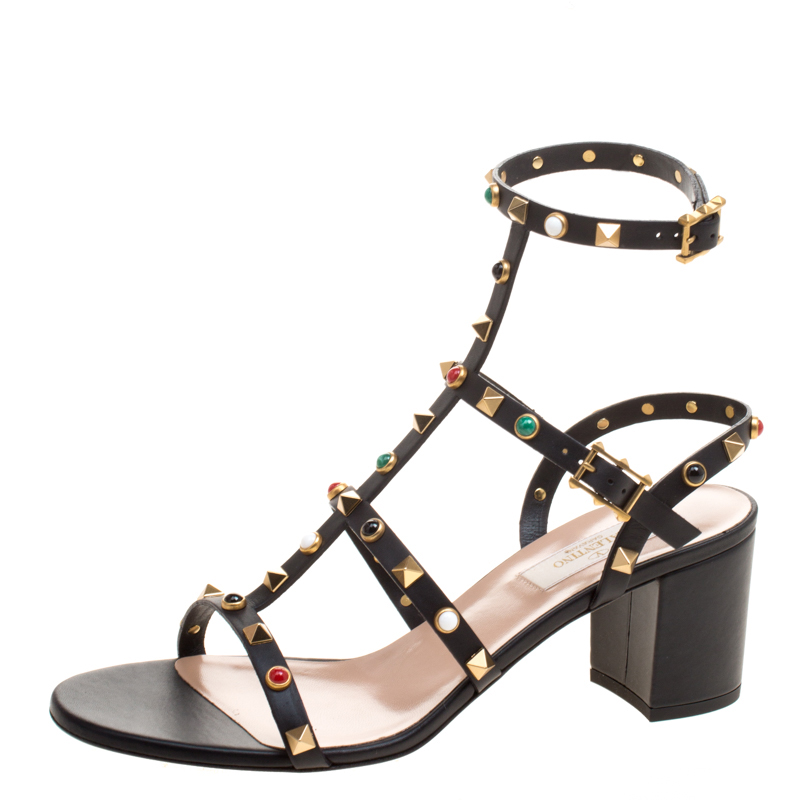 807e95af40a ... Valentino Black Leather Rolling Rockstud Cabochon Gladiator Sandals  Size 39.5. nextprev. prevnext