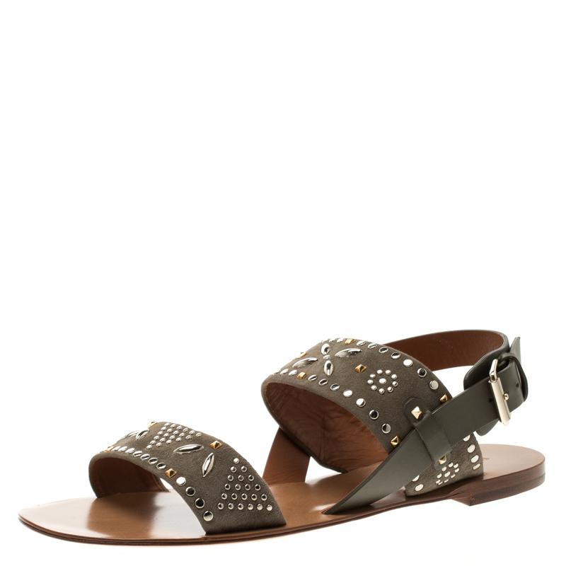 80edf272019f Buy Valentino Grey Embellished Suede Flat Sandals Size 39.5 118676 ...